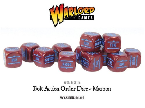 Bolt Action Orders Dice - Maroon
