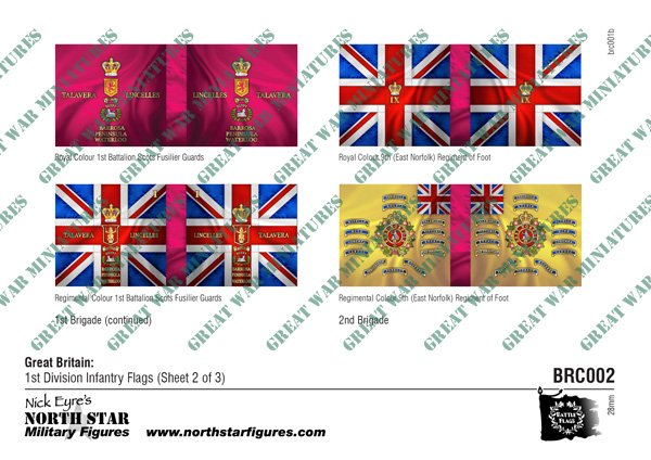 British 1st Division Infantry Flags (Sheet 2 of 3)