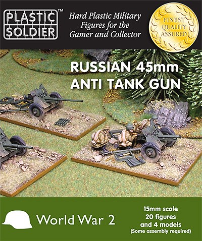 15mm WW2 Russian 45mm anti tank gun