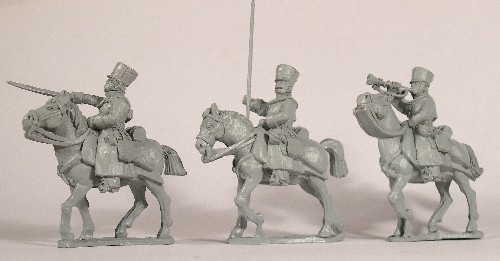 Russian Hussar command. Officer, bugler, standard bearer.