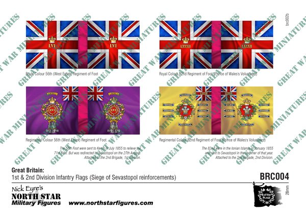 British 1st & 2nd Division Infantry Flags (Siege of Sevastopol reinforcements)