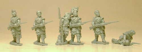 'Thin red streak' characters. 93rd Sutherland Highlanders.