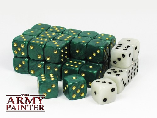 Wargaming Dice: Green w. White