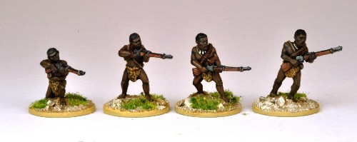 Matabele Warriors Firing Rifles