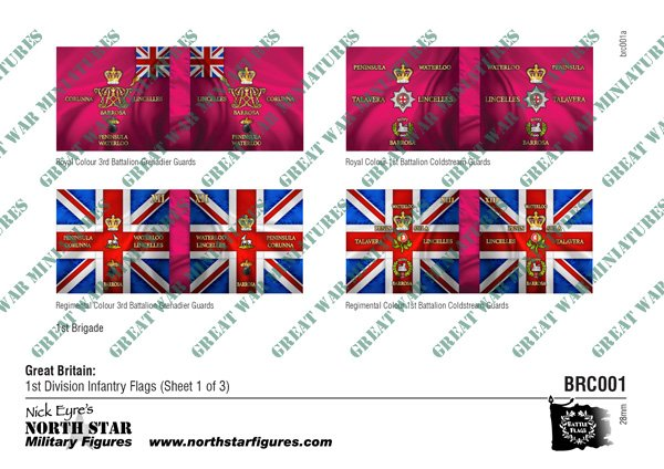 British  1st Division Infantry Flags (Sheet 1 of 3)