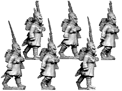 Russian Grenadiers in Helmets, Advancing.