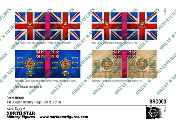 British 1st Division Infantry Flags (Sheet 3 of 3)
