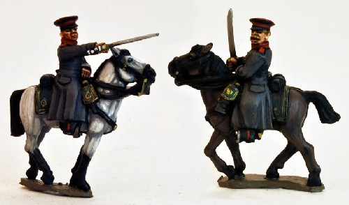 Mounted Russian Officers in Caps